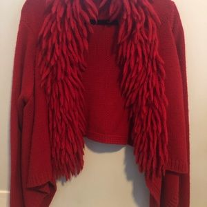Red cropped cardigan sweater  XL